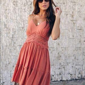 Tantalizing Crochet Babydoll Dress - Rust